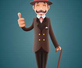 Gentleman with thumbs up vector