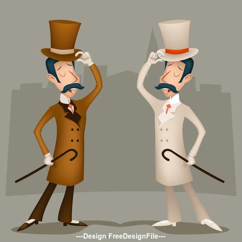 Gentlemen greeting each other vector