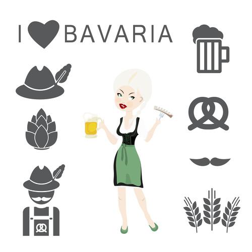 German Octoberfest  food and beer symbols vector