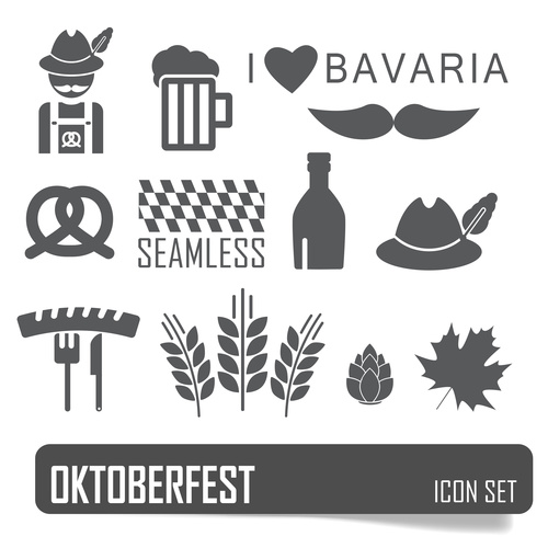 German festival food and beer symbols vector