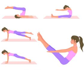 Girl doing yoga fitness vector