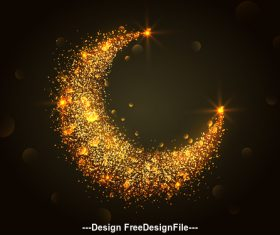 Glittering moon background vector
