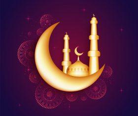 Glittering moon ramadan festival vector