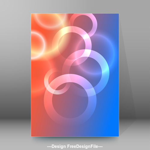 Glowing circle background brochure cover vector