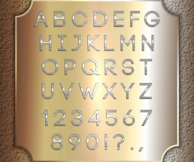 Gold background silver font and numbers vector