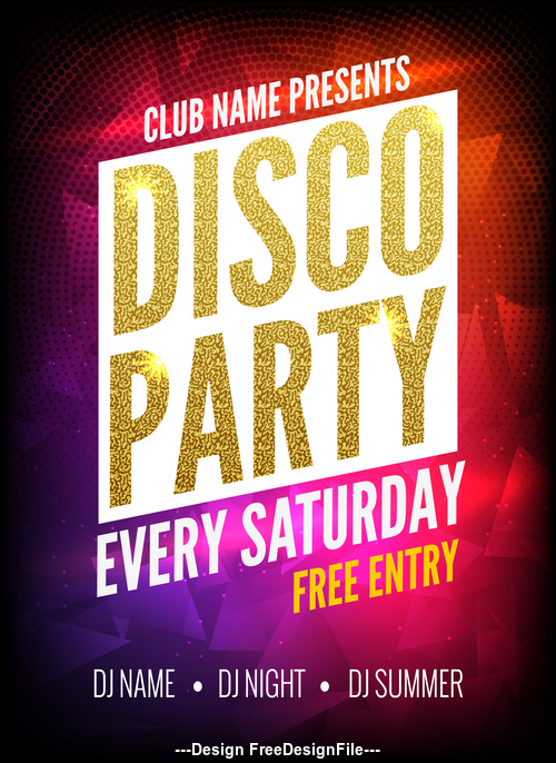 Golden Font Disco Party Prom Poster vector