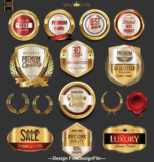Golden badges with laurel wreath collection vector