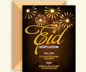 Golden fireworks for eid mubarak Vector
