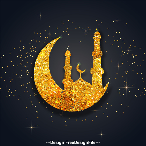 Golden ramadan festival glittering moon background vector