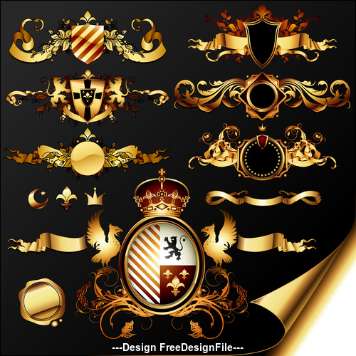 Golden shield and ribbon label vector