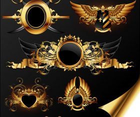 Golden wings and sword shield label vector