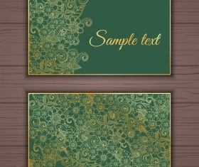 Green background floral ornamental card banner vector
