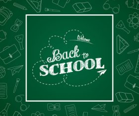 Green squares background back to school vector