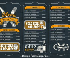 Grill house menu template vector
