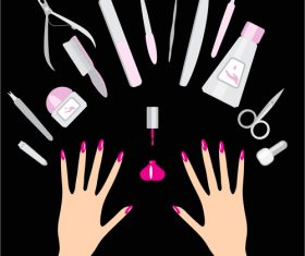 Hand with makeup accessories vector