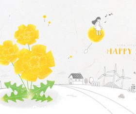 Happy spring illustration vector