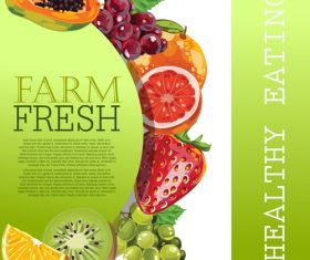 Healthy eating fruit background advertisement vector