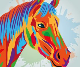 Horse watercolor illustration vector