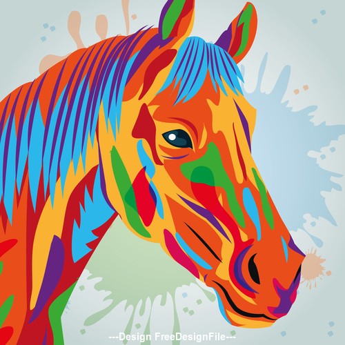 Horse watercolor illustration vector