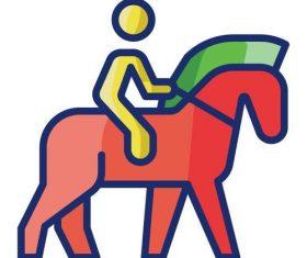 Horseback riding cartoon vector