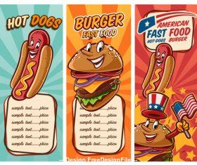 Hot dog and burger menu vector