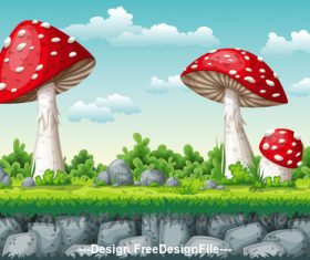 Huge red mushroom on cartoon meadow vector