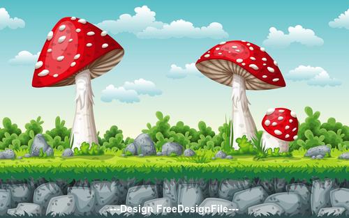 Huge red mushroom on cartoon meadow vector