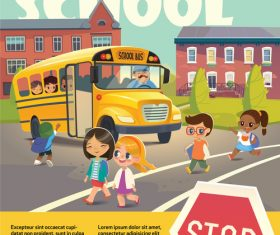 Illustration Children and the school bus vector