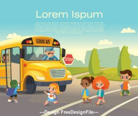 Illustration schoolboy and school bus vector
