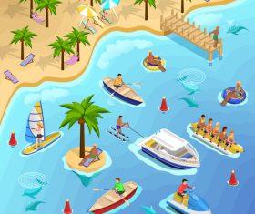 Illustration sea beach vacation vector