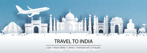 India city landscape and travel paper design