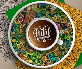 Indian themed graffiti templates vector