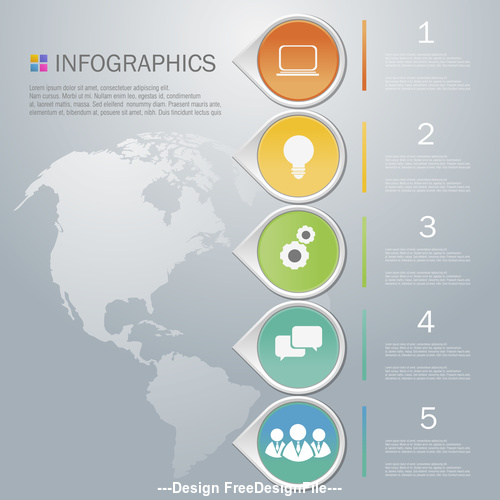Infographics list design template vector