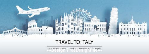 Italy city landscape and travel paper design