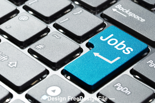 Jobs and keyboard background stock photo