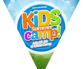 Kids Summer Camp Flag Chain PSD Material