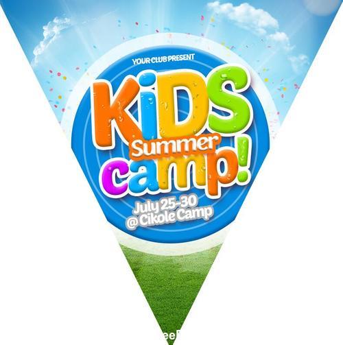 Kids Summer Camp Flag Chain PSD Material