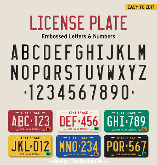LICENSEPLATE number and alphabet Vector