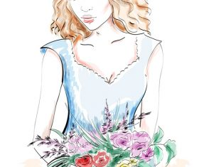 Lady watercolor holding flowers vector