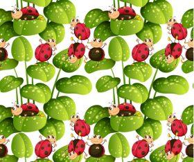 Ladybug cartoon background pattern vector