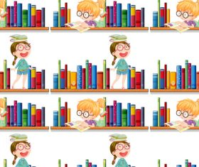 Library children seamless background vector