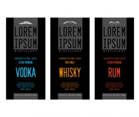 Liquor labels banner vector