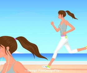 Listening to music girl running on the beach vector