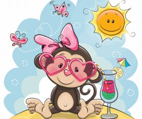 Lovely monkey cartoon vector