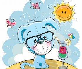 Lovely puppy cartoon vector