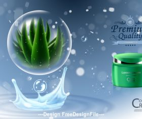 Luxury Aloe vera cosmetic products cover vector