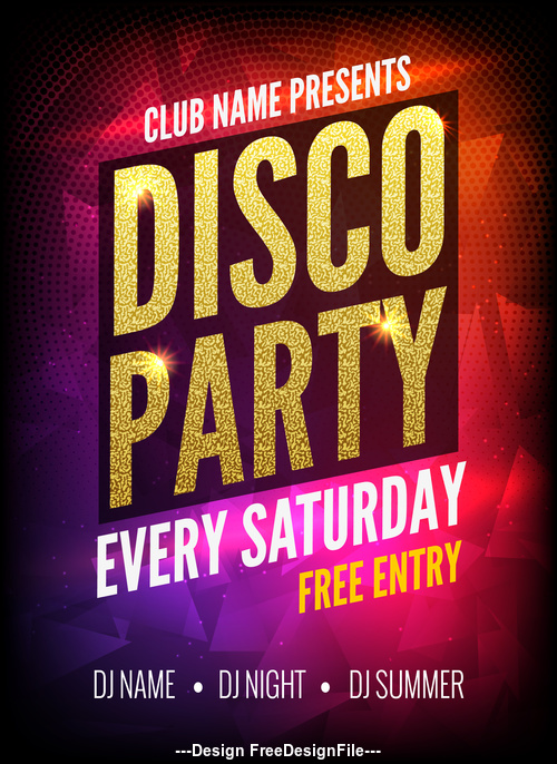 Luxury club disco party dance poster vector