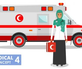 Malaysian female nurse and ambulance vector