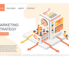 Marketing strategy flat isometric vector