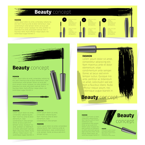 Mascara and various brochures vector